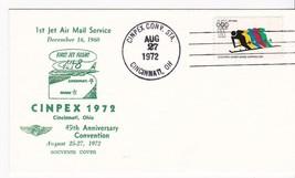 1st JET MAIL SERVICE SOUVENIR COVER CINPEX 1972 CINCINNATI OH 8/27/1972 - $1.98