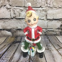 Josef Originals Vintage Christmas Elf Pixie Figurine Japan Presents Santa Suit  - $63.58