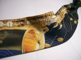 RALPH MARLIN  Saxaphone NOTES  100 SILK Necktie s 8-317c image 1