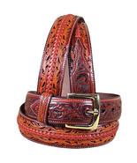 3D Brown Floral Mens Western Fashion Leather Belt Removable Buckle U-5634