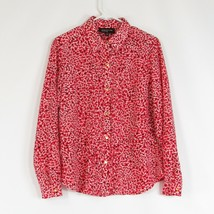 Red white abstract JONES NEW YORK button down blouse 10 - $19.99