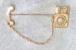 Avon Gold-tone Telephone Pin Brooch - $12.30