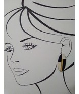VINTAGE CLIP EARRINGS BUTTON STYLE MONDRIAN INSPIRED GOLD CREAM NAVY COL... - $12.00