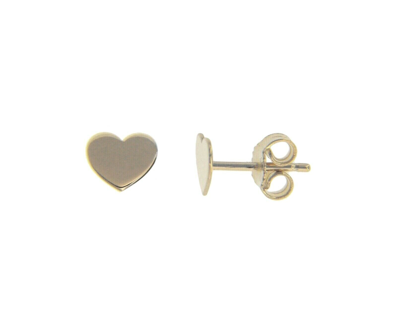 SOLID 18K WHITE GOLD EARRINGS FLAT HEART, SHINY, SMOOTH, 8x6mm, MADE IN ITALY