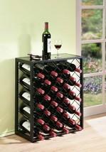 Black Finish Metal Wine Rack Holds 32 Bottles Glass Table Top Display St... - $99.89