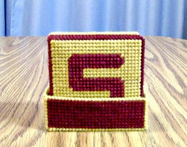 Initial Coasters, Plastic Canvas, Handmade, Wine, Bunko Party, Beer Coasters - $22.00