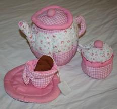 Lillian Vernon 5 pcs Soft Toy Fabric Tea Set Cloth Plush Pink Floral Bag Cup Pot - $19.25