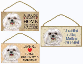 """Maltese Dog Sign Plaque 10""""x5"""" House not Home, Spoiled Lives Here, Love - £8.46 GBP"""