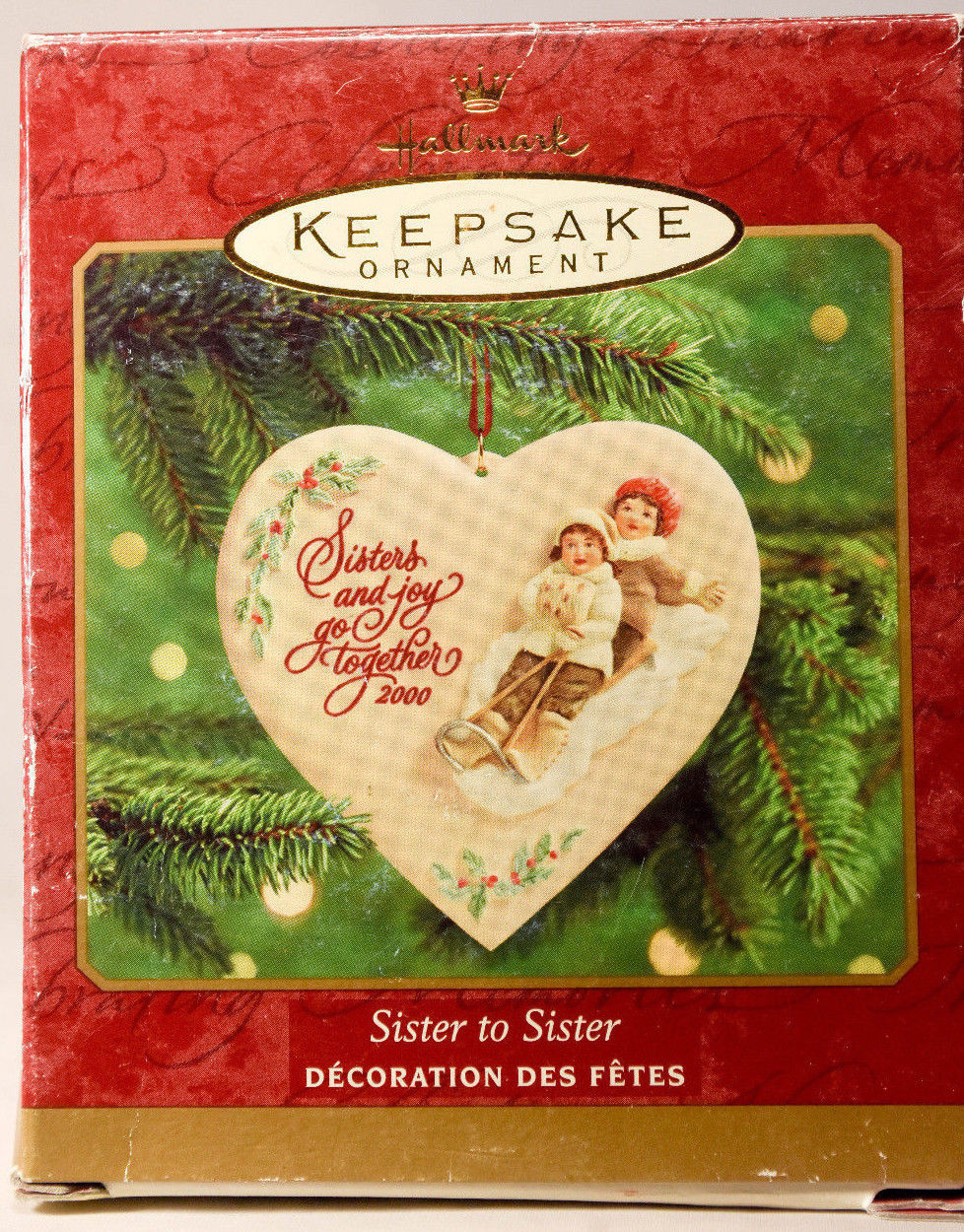 Primary image for Hallmark Sister to Sister  Heart Shaped  Porcelain  2000 Holiday Ornament