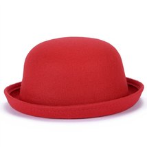 Vintage Wool Winter Hats For Women Ladies Fashion Bowler Derby Fedora Cap Floppy image 2