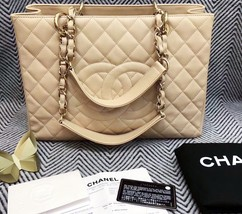 AUTHENTIC CHANEL QUILTED CAVIAR GST GRAND SHOPPING TOTE BAG BEIGE GHW RECEIPT image 8