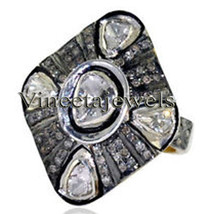 Amazing Antique Inspi. .925 Sterling Silver 1.30Ct. Rose/Anti. Cut Diamond Ring - $553.78
