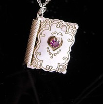 I LOVE you necklace / Vintage Amethyst Heart / 6th Anniversary Gift / Fe... - $70.00