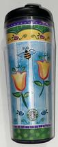 Starbucks Barista 2002 16 oz Travel Tumbler Flowers Bees Blue Green Yell... - $12.98