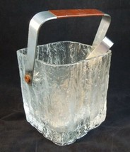 ICE BUCKET & TONGS w/ Stainless Steel Drip Set FROSTED GLASS BAR ICE HOLDER - $24.74