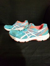 Asics Gel Contend 2 Running Shoes Size 8, Women's Blue, White, Coral T475Q - $24.94