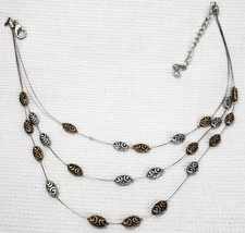 Premier Designs Carried Away Multi Strand Silver Gold Tone Swirl Design ... - $15.55