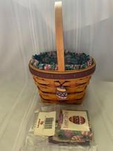 Longaberger Large Easter Basket 1996 Egg Fabric Liner Tie On Plastic Pro... - $37.39