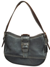Coach Black Leather Small Hobo Bag Handbag 7584 - $28.21
