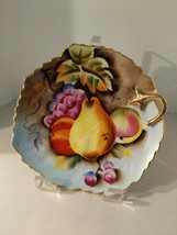 """Vintage Lefton China 6"""" Plate Applied Gold Handle Hand Painted Still LIf... - $14.84"""