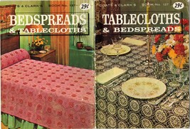Vtg 1965 Crochet Tablecloths Bedspreads Poinsettia Roses Cockatoo Crest ... - $12.99