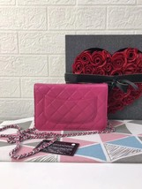 100% AUTH CHANEL WOC Quilted Lambskin PINK Wallet on Chain Flap Bag SHW image 8