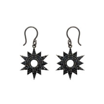 Round Cut Black Spinel Gemstone 925 Sterling Silver Dangle Earring For W... - $34.60
