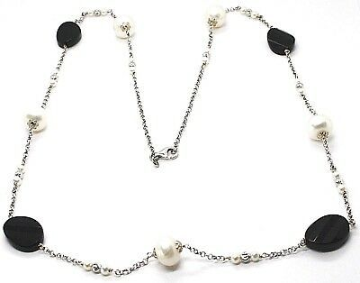 SILVER 925 NECKLACE, ONYX BLACK OVAL FACETED, PEARLS, 80 CM, CHAIN ROLO'