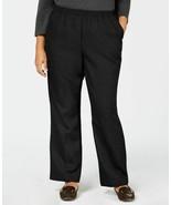 Karen Scott Womens Pull On Mid-Rise Straight Leg Pants Black Plus Size 2... - $32.13