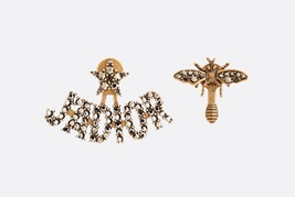 Authentic Christian Dior 2019 J'ADIOR AGED GOLD CRYSTAL EARRINGS Star Bee Wasp