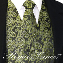 Men's Olive Green Paisley Tuxedo Dress Vest Waistcoat & Neck tie Wedding... - $20.77+
