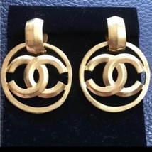 Authentic CHANEL Vintage Gold Logo Drop Clip on Earrings Coco HCE051 - $965.25