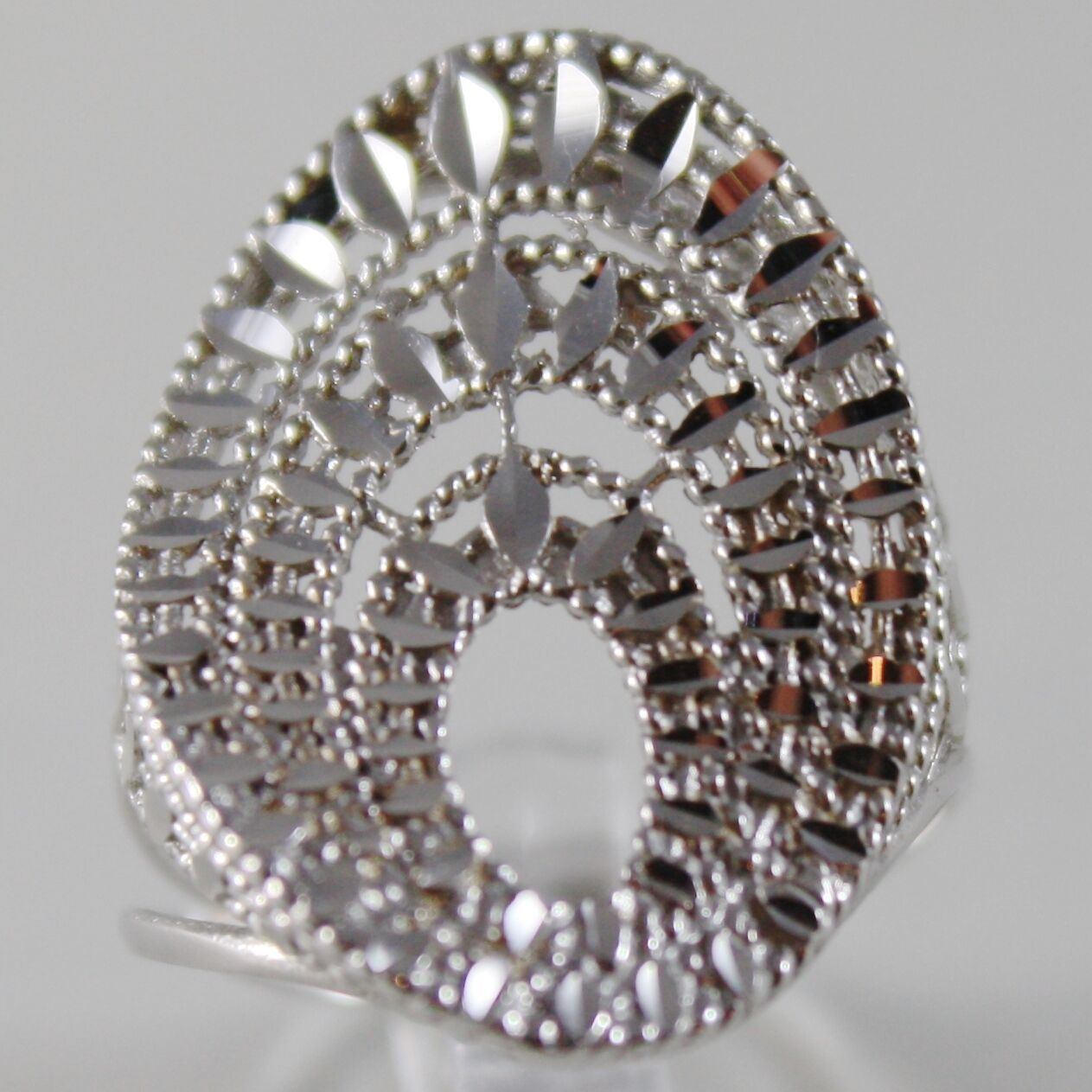 SOLID 18K WHITE GOLD BAND RING OVAL WAVE, BRIGHT, FINELY WORKED MADE IN ITALY
