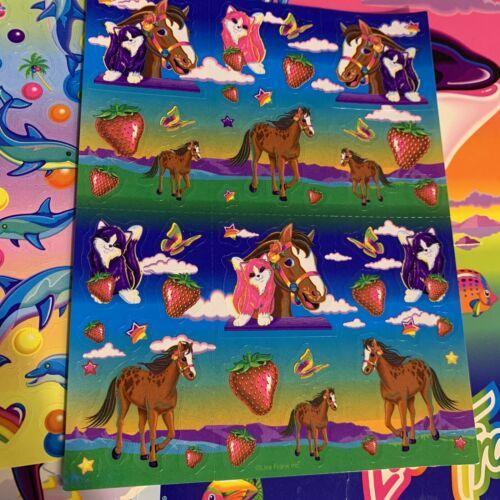 Vintage Lisa Frank Scentsations Sticker Sheet Rainbow Chaser Kitten Strawberry
