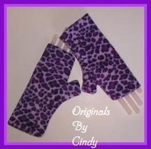 Purple Leopard Gloves Lavender Finger Less Mitts Reversible Thumb Finger... - $16.00