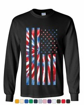 Tie-dye American Flag Long Sleeve T-Shirt 4th of July Stars and - $10.96+
