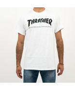 T-SHIRT MAN THRASHER SKATE MAG T-SHIRT 110101WH CREWNECK TEE MAN TRIBES - $31.47