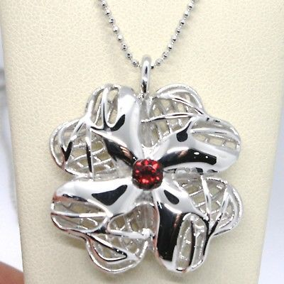 925 STERLING SILVER NECKLACE WORKED BIG FOUR LEAF CLOVER PENDANT, MARIA IELPO
