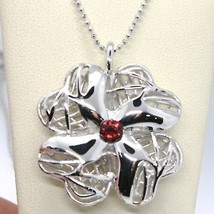 925 Sterling Silver Necklace Worked Big Four Leaf Clover Pendant, Maria Ielpo - $393.30