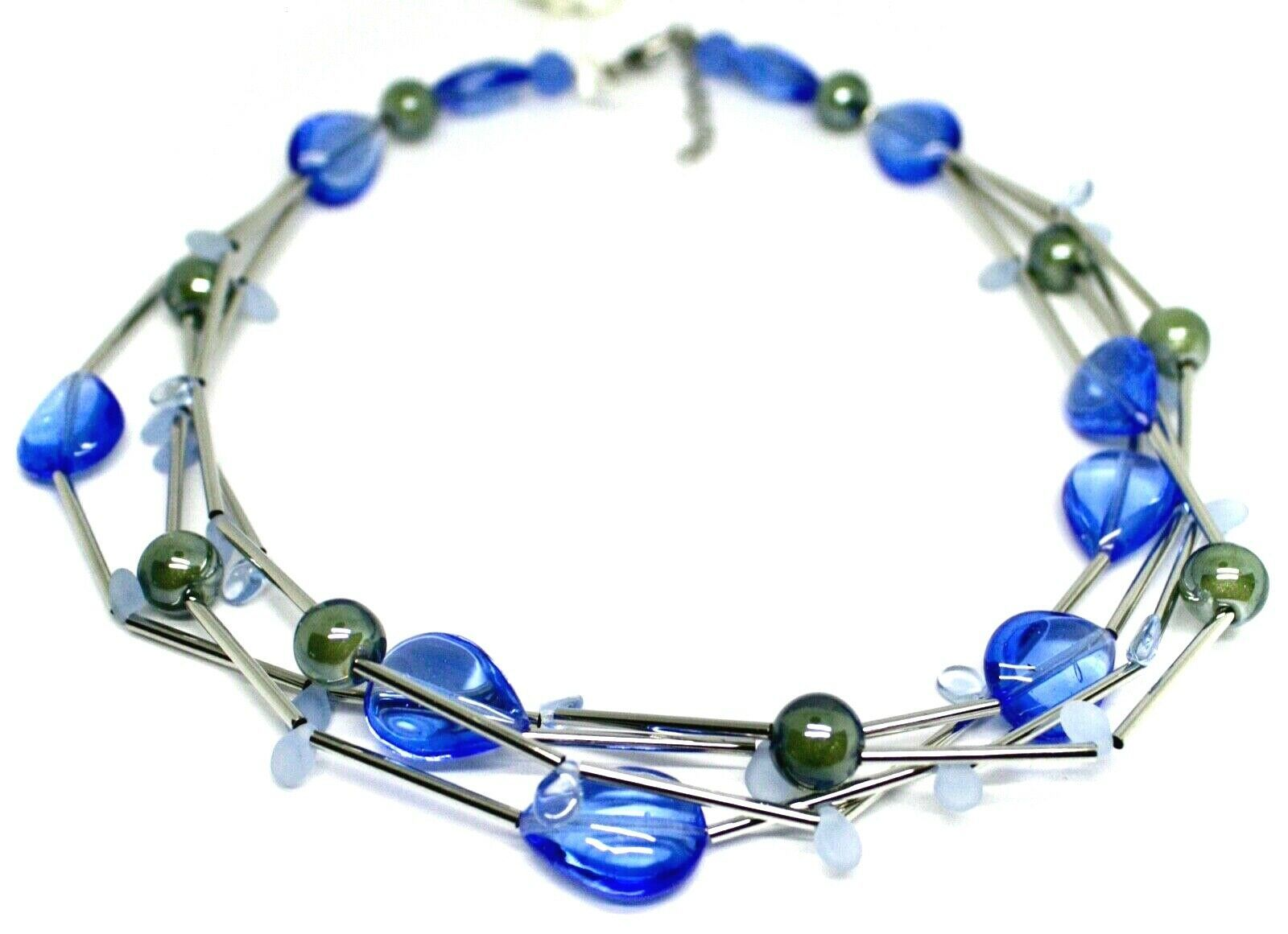NECKLACE MULTI WIRES TUBE BLUE DROP SPHERE PETALS MURANO GLASS ITALY MADE