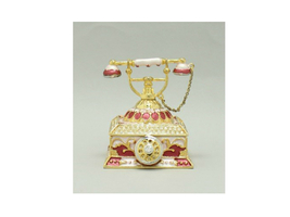 Red Enamel Deco Antique Rotary Telephone Trinket Box - $29.95