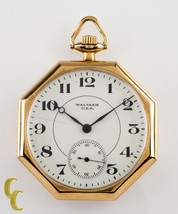 14K Yellow Gold Waltham Octogon Antique Open Face Pocket Watch Gr 235 12S 17J - $788.64
