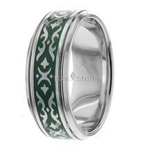 14K SOLID GOLD GREEN ENAMEL MENS CELTIC WEDDING BANDS RINGS MANS 9MM BAN... - $759.39