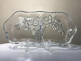 "Vintage 1950 Jeannette Glass Clear Camellia 11.75"" Dresser Vanity Perfume Tray - $24.00"