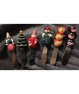 Lot of 6 Cheese Spreaders Knives Christmas Snowman Tree Easter Bunny Owl... - $9.89