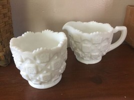 Vintage Westmoreland White Milk Glass Large Cream and Sugar Old Quilt Pa... - $23.38