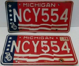 1976 MICHIGAN STATE LICENSE PAIR PLATES MATCHED SET NCY554 FLAG BICENTEN... - $20.34