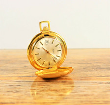 Swiss Made by Evaco SA Gold Plated Mechanical Wind Up Pocket Watch 1970's - $350.00