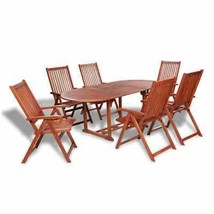 vidaXL Outdoor Dining Set 7 Pieces Acacia Wood 6 Folding Chairs 1 Oval T... - $470.99