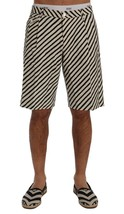 New $610 Dolce & Gabbana Men White Black Striped Hemp Casual Shorts It52-Xl - $199.96